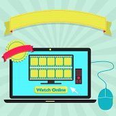 """foto of watch  - """"Watch online"""" button in a laptop for watch movie streaming. Colorful artwork. Blank ribbon and stamp for insert text. - JPG"""