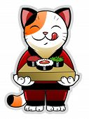 picture of sushi  - Cute cartoon cat holding sushi - JPG