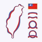 stock photo of nationalism  - Outline map of Taiwan - JPG