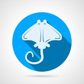stock photo of stingray  - Flat blue round vector icon with white silhouette stingray on gray  background - JPG