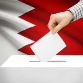 stock photo of bahrain  - Ballot box with national flag on background series  - JPG