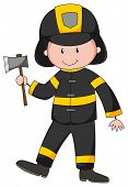 pic of fireman  - Close up fireman with axe in his hand - JPG