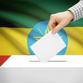 foto of ethiopia  - Ballot box with national flag on background series  - JPG