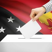 stock photo of papua new guinea  - Ballot box with national flag on background series  - JPG