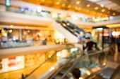 image of department store  - Blur background photograph of people in the department store building with huge escalator - JPG