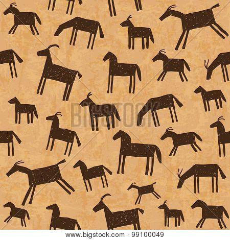 Prehistoric Cave Paintings Seamless Pattern