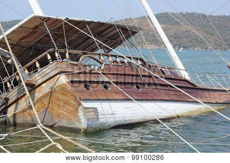 A sunken boat