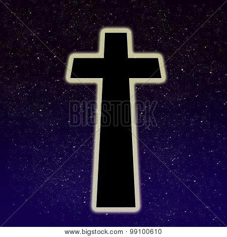 Big glowing cross on the night sky full of stars
