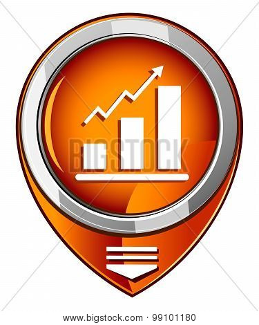 Graph Icon. Orange Pointer