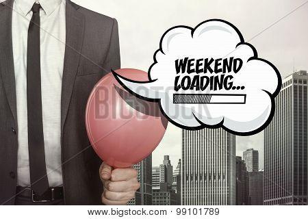 Weekend loading text on speech bubble