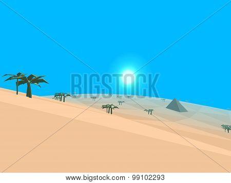 Low Poly Retro Style Desert