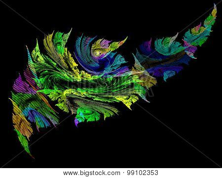 Abstract Image Of Graphic Quality Sheet On A Black Background