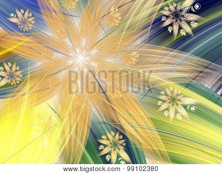 Abstract Fractal Flower, Star With Bright Colors