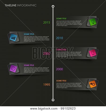 Time Line Info Graphic With Colored Pointer On Black Background