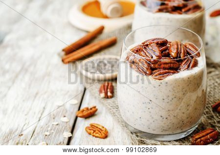 Oat Cinnamon Chia Seed Pudding With Honey Pecan