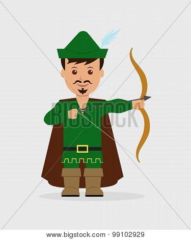 A boy dressed as Robin Hood with bow and arrow.