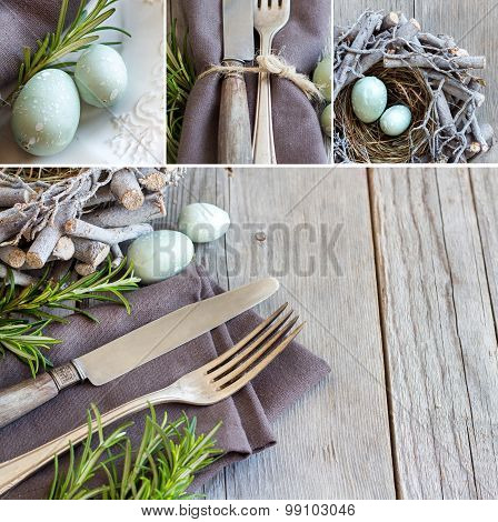 Collage With Easter Table Setting