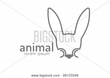 Abstract animal face logo vector template. Rabbit, wild world