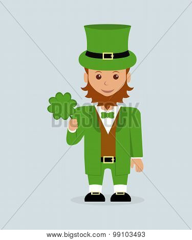 Fairy leprechaun with clover leaf on a light background