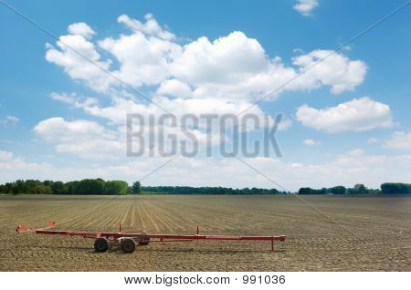 Red Cart Left In The Field