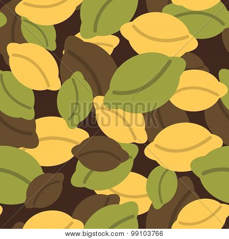 Military Texture Of Dumplings. Camouflage Army Seamless Pattern From Russian Dumplings. Soldiers Pat
