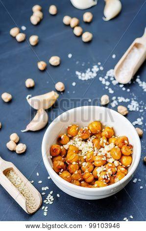 Roasted Garlic Sesame Chickpeas