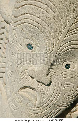 Maori Carving In Sandstone, Tattoo Pattern.