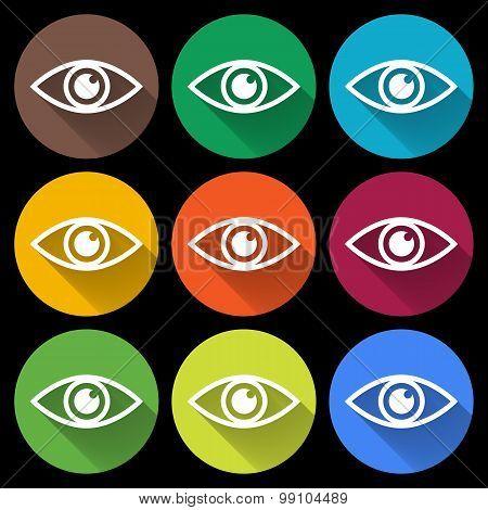 Icon of eye. Colorful set. Flat style
