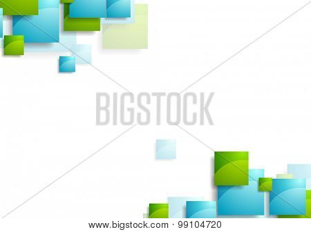 Tech geometric background with bright squares. Vector design