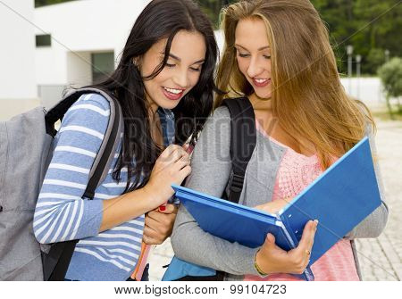 Two beautiful teenage students studying and showing something in the books