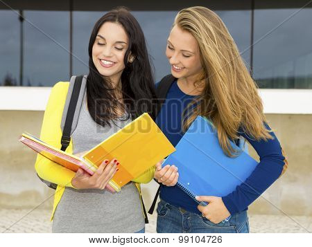 A beautiful student showing something on the books to anoither student
