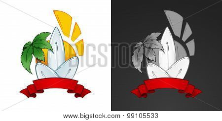 Surfing illustration and emblem with lettering. Stylized image of surf