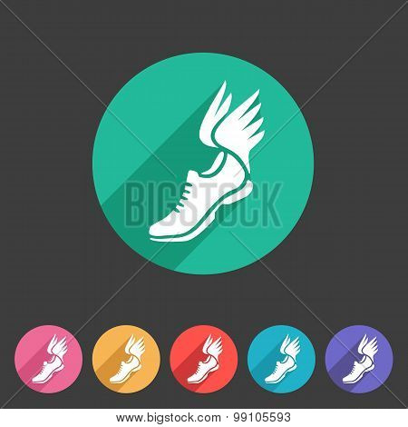 Running shoes wings icon flat web sign symbol logo label