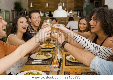 Group of friends toasting and looking happy at a restaurant