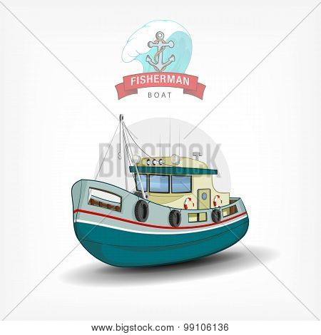 Vector color handdrawn illustration of a isolated fishing boat.  Side view.