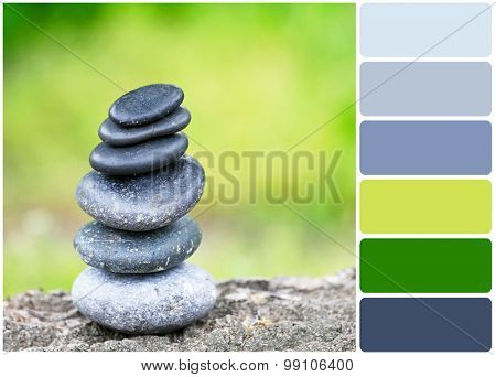 Zen stones and palette of colors
