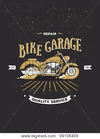 Vector logotype of vintage motorcycle.
