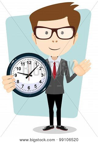 Businessman and clock , vector format