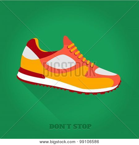 Vector icon shoes for training. Running shoe, sneaker isolated on green background.