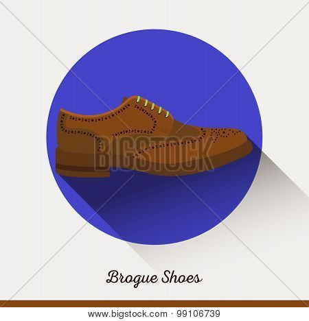 Vector Brogue Shoes in flat style.