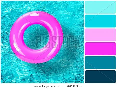 Lifebuoy on water background and palette of colors