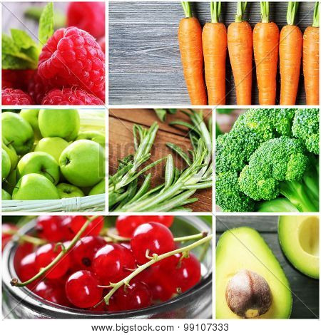 Collage with fresh fruits, vegetables and berries