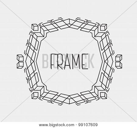 Hand drawn emblem abstract template Elegant linear logo outline elegant calligraphic monogram