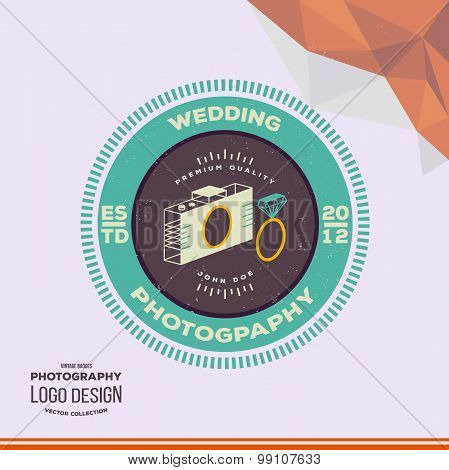Photography Hipster Badge and Label in Vintage Style. Creative wedding photographer logo
