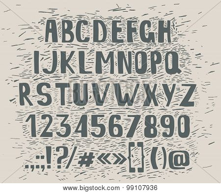 Type letters, numbers and punctuation marks Hand drawin alphabet handwritting abc vector font.
