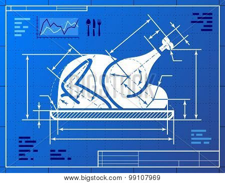 Christmas Whole Turkey Symbol As Blueprint Drawing