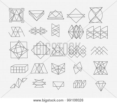 Set of geometric trendy hipster elements shapes and logotypes. Abstract polygonal label design.