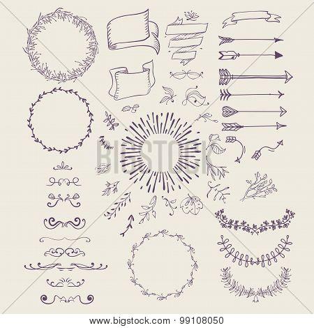 Hand drawn emblem abstract template Elegant linear frame outline elegant calligraphic monogram.