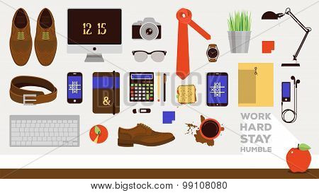 Vector Set of business icons in flat design. Businessman workplace elements.