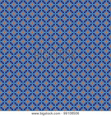 Blue And Orange Abstract Seamless Pattern